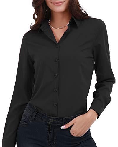 Gemolly Women's Basic Button Down Shirts Long Sleeve Plus Size Simple Cotton Stretch Formal Casual Shirt Blouse Black XL