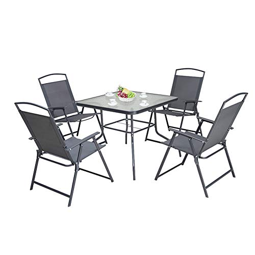 Pellebant 5PCS Patio Dining Set with Square Glass Table and 4 Folding Chairs for Garden, Pool,...