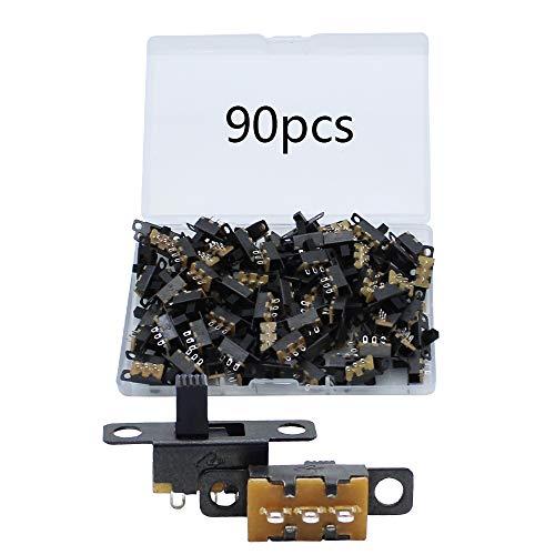 Mini Interruptor Deslizante 90 Piezas Micro Interruptor 3 Pines 2 Posiciones SPDT ON-OFF Utilizado en Pequeños Proyectos de Bricolaje Juguetes Eléctricos Linternas