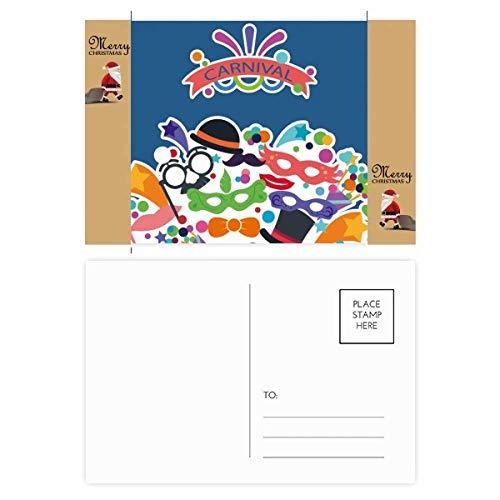 Glazen Hoed Masker Gelukkig Carnaval van Venetië Kerstman Gift Ansichtkaart Thanks Card Mailing 20 stks