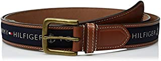 Tommy Hilfiger Men's Ribbon Inlay Belt - Ribbon Fabric Design with Single Prong Buckle