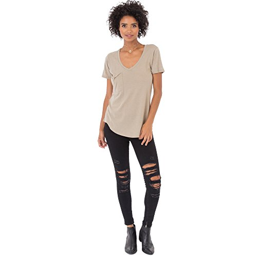 Z SUPPLY Clothing Women's The Pocket Tee Relaxed Fit Burnout Top, Black Iris, Mediu   m