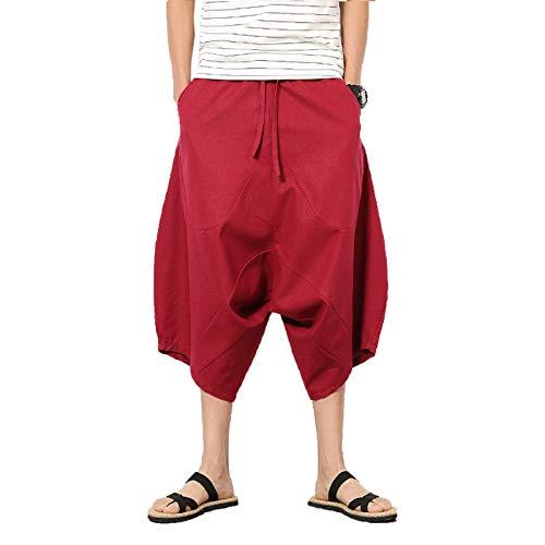 ZumZup Herren Sommer Leinenshorts Capri Lässig Hose Low Crotch Strandshorts Freizeit Weinrot Asie 2XL: Taille 84cm/33.1