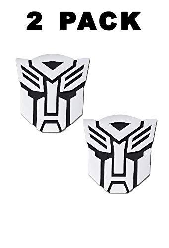 2 Stück im Set Transformers Emblem – 7,6 cm hoch für Auto Autobot Aufkleber Paar Chrom-Finish PVC Auto Embleme Transformers Autobot Autozubehör