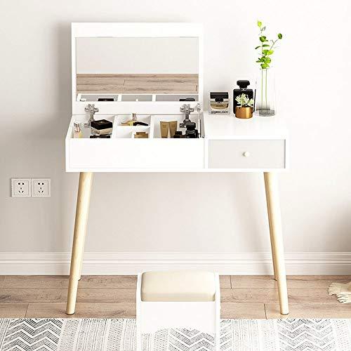 Stolik toaletkowy prosty zestaw z litego drewna toaletka z otwieranym lustrem i amortyzacją, stołekwielofunkcyjna toaletka z 1 szufladami do sypialni damskiej (kolor: Biały, rozmiar: 80 x 40 x 115 cm)