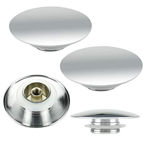 SSPECOTNR 2 Stück Waschbeckenstöpsel aus Kupfer Waschbecken Ablaufventil Silber Excenterstopfen Abflußstopfen für Handelsüblichen Waschbecken Bidets Abflüsse bis 66mm