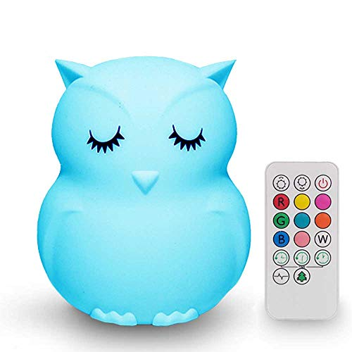 Búho-Luz nocturna infantil multicolor portátil con batería recargable, mando y táctil-Luz quitamiedos...
