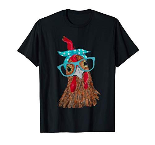 Chicken with bandana headband and glasses cute T-Shirt