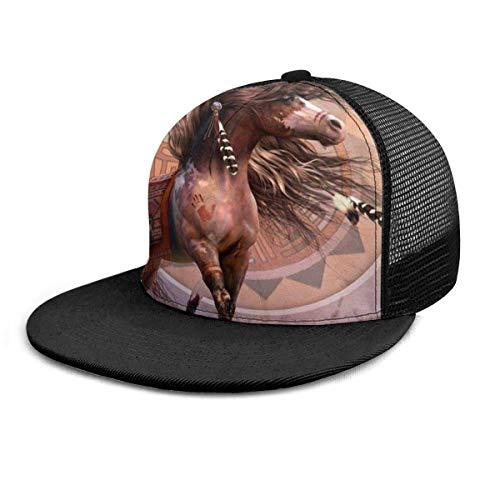 Gorra de bisbol Caballo Indio Nativo Americano Impresin 3D Gorras de bisbol Ajustables Hip Hop Snapback Sombreros de Borde Plano