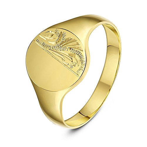 Theia Oval Shape Engraved Design Medium Weight 9 ct Yellow Gold Signet Ring - Size M