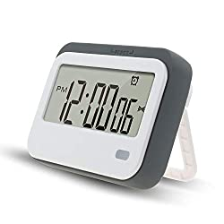 Digital Timer Multifunction Large LCD. 3 mode - Clock,Countup,Countdown. Accurate to seconds. For Cooking,Study,Games (grey)