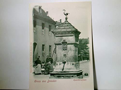 Dresden. Der Queckbrunnen. Alte AK s/w., ca 1900 ungel. Brunnenansicht mit Storch, Wohnhäuser, Frauen mit Kind u. Kinderwagen. O. Schleich Nachf. Nr: 5014