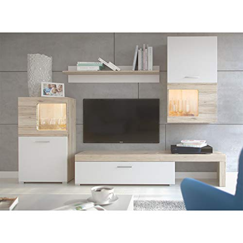 Homely Mueble de salón Modular SAONA Color Roble y Blanco de 215 cm