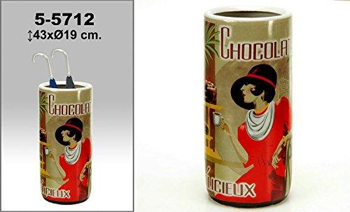 DONREGALOWEB Paraguero Redondo de Ceramica Decorado con señora y Logo Chocolat