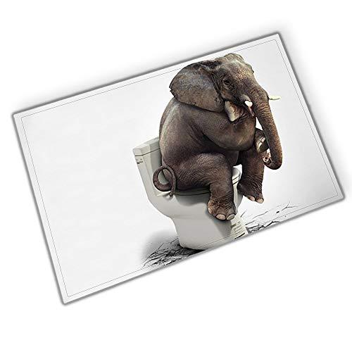 gohebe Safari Tiere Rutschfeste Badematte Decor Flanell und Teppich für Handtuch der Elefant sitzt auf der Toilette Bad Teppiche 39,9x59,9cm Badezimmer Zubehör