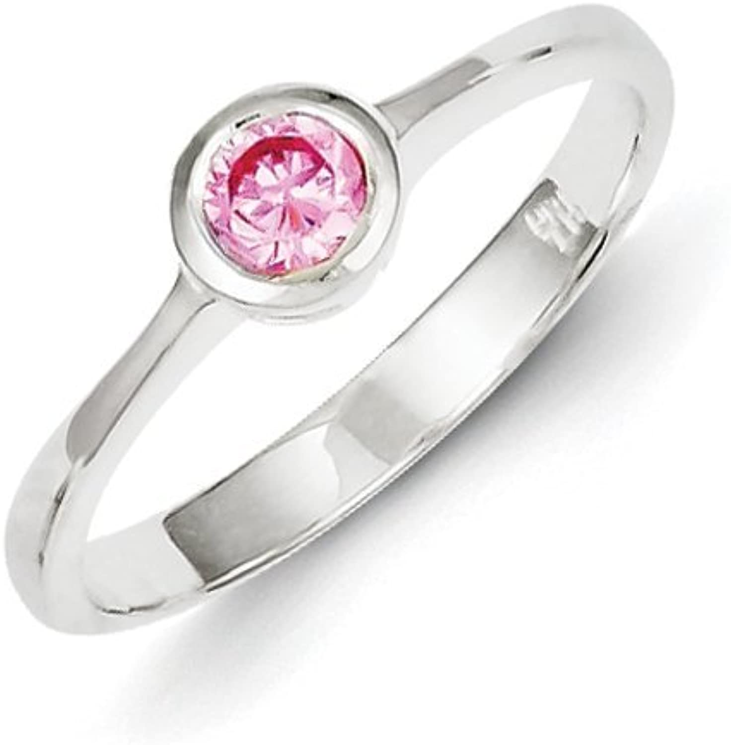 gold and Watches Sterling Silver Pink Round Bezel CZ Ring