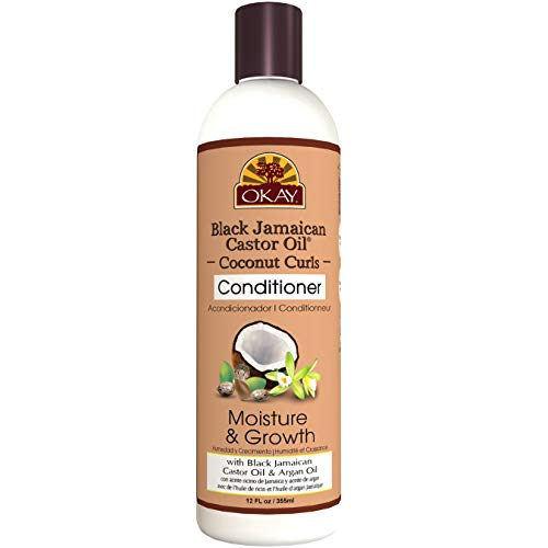 OKAY | Black Jamaican Castor Oil Coconut Curls Conditioner | For All Hair Types & Textures | Condition, Strengthen & Regrow Hair | With Argan Oil | Free of Paraben, Silicone, Sulfate | 12 oz