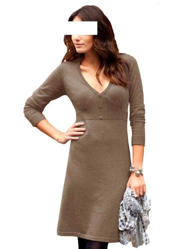 Aniston Damenkleid Strickkleid Taupe Größe 34 fällt groß aus, passt Gr. 36