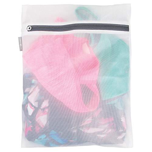 mDesign Medium Laundry Mesh Wash Bag - Fine Weave Fabric, Zipper Closure, Washing Machine, and Dryer Safe, Protect Lingerie, Delicates, Underwear, Bras, Leggings - Reusable - Great Travel Bag - White