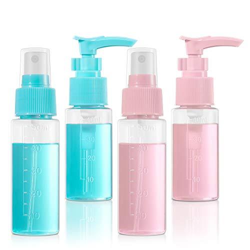 Sprühflasche Klein, ETEREAUTY 50ml Zerstäuber Nachfüllbar mit 40ml Pumpflasche Leer, Transparentes Mini-Reiseflaschenset für Wasserparfüm-Shampoo-Lotion