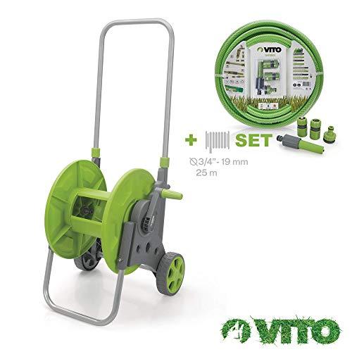 VITO Garden Schlauchwagen mit Gartenschlauch - 25 Meter Schlauch flexibel 17bar UV beständig 19mm 3/4