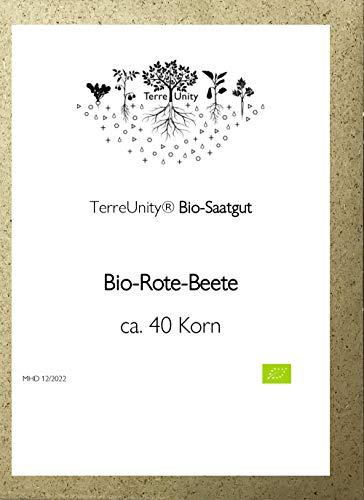 TerreUnity - Bio Saatgut Rote Beete | Rote Rüben | Rote Kugel - bio - vegan - plastikfrei - ca. 200 Korn - für den eigenen Anbau im Garten, Hochbeet oder Balkon