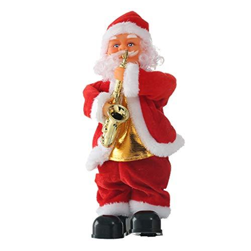 Fenteer Elektrische Singender & Tanzender Weihnachtsmann Spielfigur mit Musik Weihnachtssdeko - Saxophon