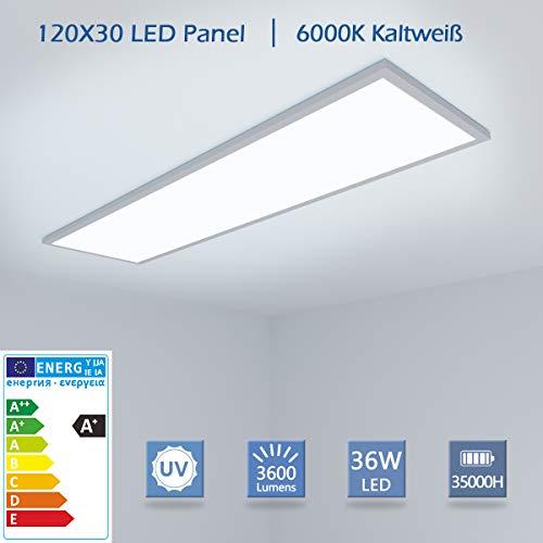 OUBO LED Panel 120x30 Deckenleuchte Kaltweiß 36W 3600lm, 6000K Wandleuchte dünn Ultraslim Silberrahmen, inkl. Netzteil