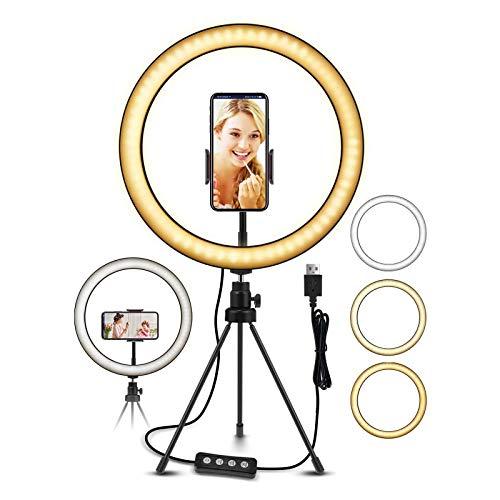 YDBET Ring Light, 10' LED Ring Light Tripod Photo Video LED Lighting Kit, Adjustable Color Temperature 3000K-6000K, Light Stand, 11 Levels of Brightness for Tiktok Youtube Video, Makeup