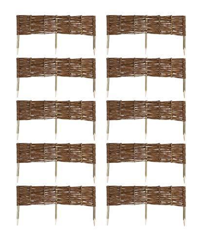 MC.Sammler 10 x Beeteinfassung aus Weide 16 Größen Weidenzaun Rasenkante Beetbegrenzung Steckzaun imprägniert mit Buchepflöcken für leichtes Einsetzen Länge: 100 cm Höhe: 20 cm