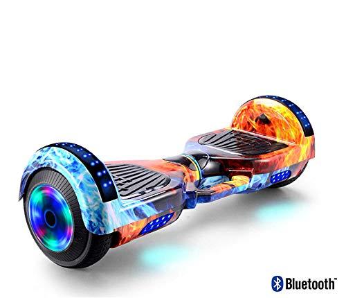 Nowsend 8 Zoll selbstausgleichendes Auto Hoverboard Kind Erwachsene Reisen führte Luftkissen Auto Bluetooth-9in + Eisfeuer_Ohne Handlauf