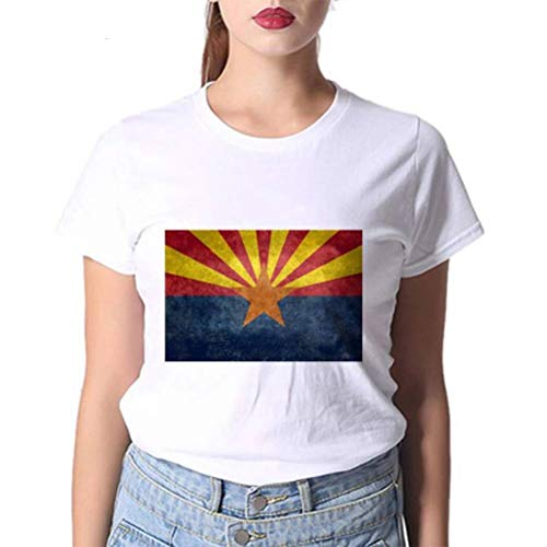 JUSTTIME Camiseta Estampada Blanca para Mujer Camisa de Fondo Jersey de Manga Corta Cuello Redondo Camiseta de Algodón Camiseta de VeranoComo se muestra, l