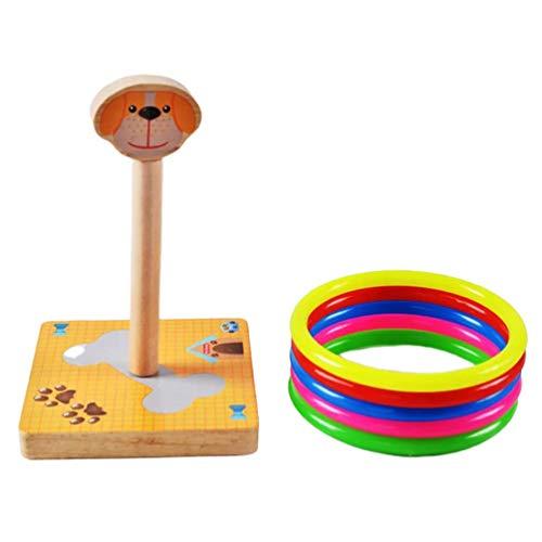 NUOBESTY Holzring Werfen Spiel Tier Hund Geformt Pädagogische Ring Werfen Spielzeug-Set Pädagogische Alternative zum Werfen Darts Sicher Spielen Indoor Outdoor für Erwachsene Und Kinder