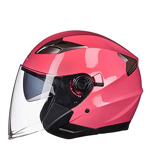 Casque moto hommes et femmes double lentille demi casque femme casque (Couleur : B-Xl(60-61cm))