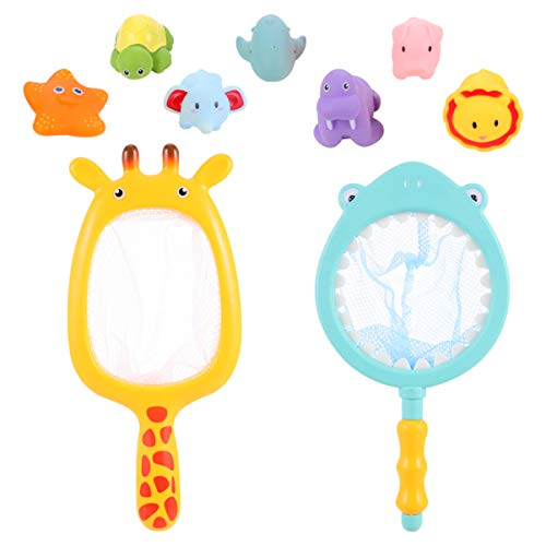NUOBESTY Baby Bath Toys for Toddlers, Animals Bath Squirters and Fishing Net, Pool Water Toys for Kids, Birthday Gifts for Boys & Girls