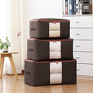 Jujin 600D Oxford Large Clothing Organizer Storage Bags Foldable Comforter Blankets Clothes Storage Bags Coffee 3PCS