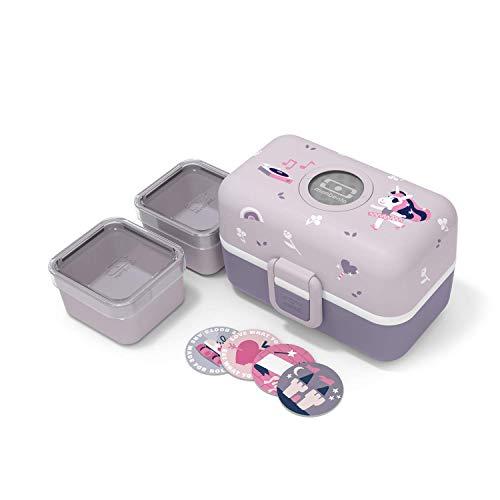 monbento - MB Tresor Violett Unicorn Brotdose Einhorn Kinder mit Trennwand - Bento Box Kids mit Fächer - Individuell Gestaltbar - Snack Box