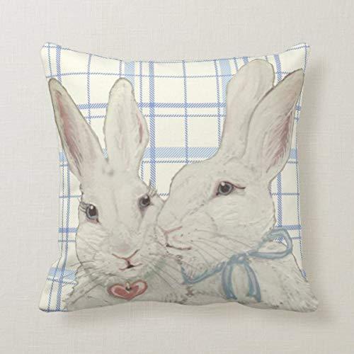 45,7 x 45,7 cm Kissenbezug für Bett, Couch, Sofa, Büro, Dekor, skurriles Häschen, Kaninchen, blau, kariert, Oster-Überwurf-Kissenbezug