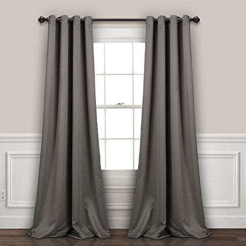 "Lush Decor, Dark Gray Curtains-Grommet Panel with with Insulated Blackout Lining, Room Darkening Window Set (Pair), 108"" L"