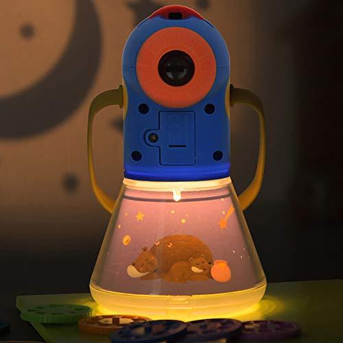 feiledi Trade Kindergeschichten Projektionslampe mit 8 Märchen 64 Folien, 3-in-1 Gute Nacht Geschichte, Nachtlicht, Taschenlampe Projektionslampe, für Kleinkind Junge Mädchen