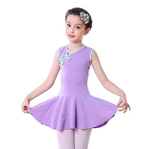 Tutu per ragazze Vestito da ballo, costumi per spettacoli teatrali Abito + pantaloncini in stile cinese, gonna corta senza maniche estiva adatta per ragazze con un'altezza di 100-160 cm