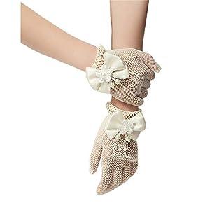 Unilove Flower Girl Gloves White Ivory Lace Short Princess Gloves for Wedding