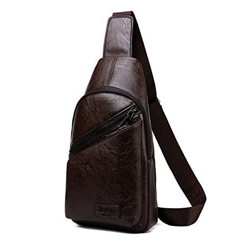 Mdsfe Marke Herren Umhängetasche 2 Stück/Set College Student Leder Brusttasche Mode Lässige Herrentasche Umhängetasche - 80220-Braun