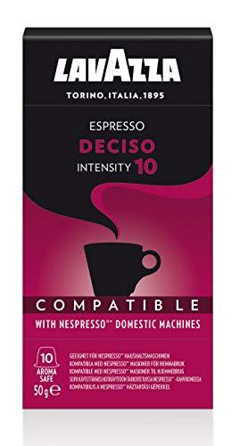 Lavazza Espresso Deciso Coffee Capsules Compatible with Nespresso, Pack of 10 Capsules