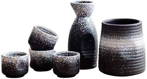ZCY Ensemble de vin de saké Japonais - Pots de Cave à vin d'antiquités à vin Blanc en céramique à Usage Domestique - Ensemble de 5 pièces de Bouchon de vin Gratuit
