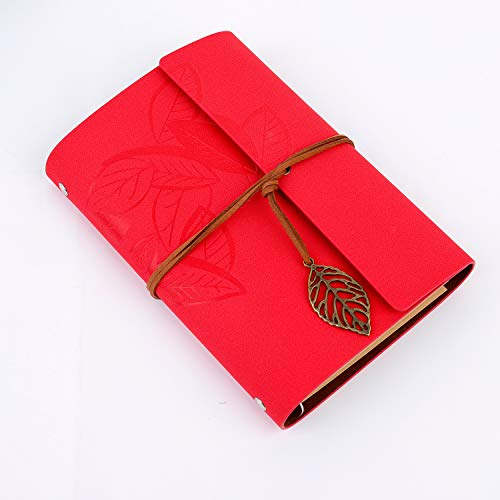 Diario de Viaje Retro Cubierta de Cuero de la PU Cuaderno Agenda con Páginas en Blanco y Colgantes Regalos Originales de Navidad San Valentín Cumpleaños Aniversario Rojo