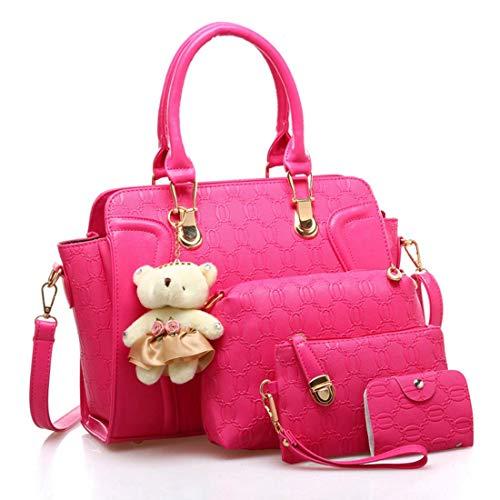 SPFTOY Damen 3 in 1 Handtasche Set Geldbeutel Litschi-Muster Handytasche mit Quaste Rucksack PU Leder Schultertasche Umhängetasche Brieftasche-Rot