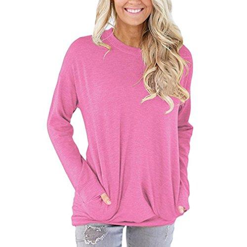 kaifongfu Women Tops, Casual Long Sleeve Cotton Solid Loose Pockets T-Shirt Blouses (XL, Pink)