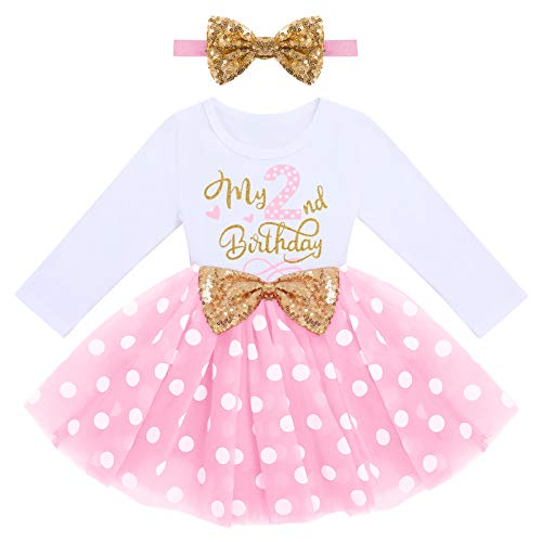 FYMNSI Vestito da bambina a maniche lunghe, in tulle, linea A, principessa, con fascia per capelli, per feste e servizi fotografici Pois rosa - Il mio 2° compleanno 2 Anni