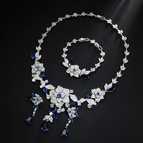 LIYDENG Joyería hermosa forma de flujo brillante CZ piedra collar pendientes pulsera color oro blanco nupcial mujeres joyería boda conjuntos (color: blanco)
